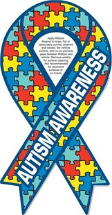 "Autism Awareness Ribbon Car Magnet 4"" x 8"""