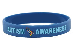 &quot;Autism Awareness&quot; Rubber Bracelet Wristband - Adult 8&quot;
