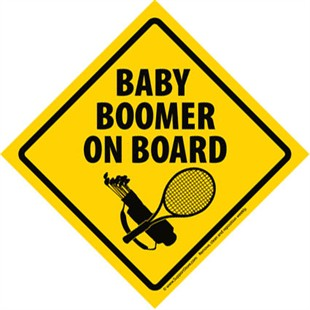 """Baby Boomer On Board"" Sign Car Magnet"