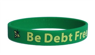 """Be Debt Free"" Rubber Bracelet Wristband - Adult 8"""