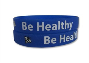 &quot;Be Healthy&quot; Rubber Bracelet Wristband - Adult 8&quot;