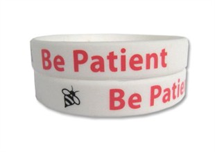 &quot;Be Patient&quot; Rubber Bracelet Wristband - Adult 8&quot;