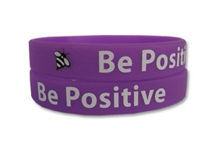 &quot;Be Positive&quot; Rubber Bracelet Wristband - Adult 8&quot;