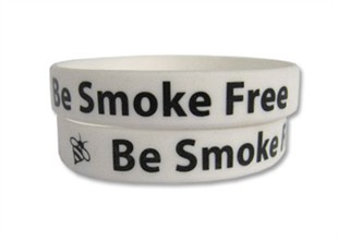 """Be Smoke Free"" Rubber Bracelet Wristband - Adult 8"""