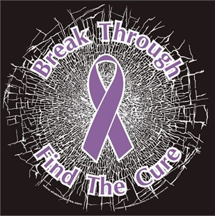 Purple  Break Through...Find The Cure!  Static Window Cling