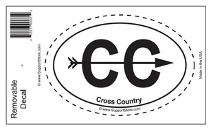 &quot;Cross Country&quot; Bumper Sticker Decal - Oval