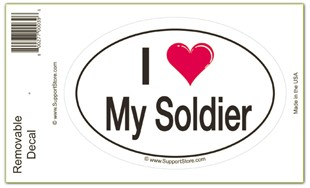 I Love My Soldier  Bumper Sticker Decal