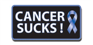 Cancer Sucks! Lapel Pin - Blue