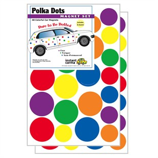 Multi Color Polka Dots Car Magnet Set