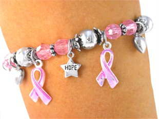 "Breast Cancer Awareness Pink ""Hope, Faith, Love"" Charm Bracelet"