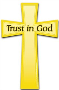 """Trust in God"" Car Magnet - Gold Christian Cross"