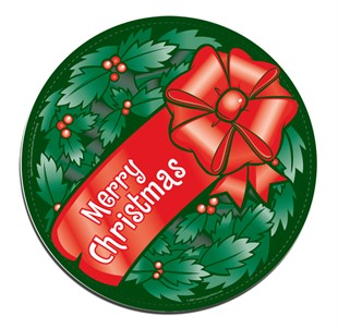 Merry Christmas Wreath Car Magnet