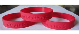 &quot;Cure Diabetes&quot; Red Rubber Bracelet Wristband - Youth 7&quot;