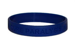 &quot;Cure Paralysis&quot; Blue Rubber Bracelet Wristband - Adult 8&quot;