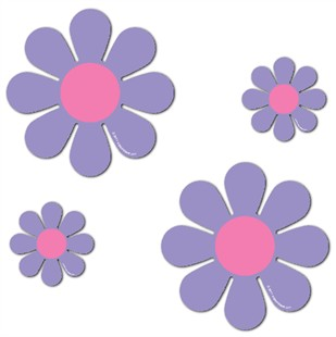 Magnetic Daisies - Purple - Set of 4 (2 - 4.5&quot; and 2 - 9&quot;)