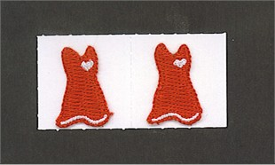 Embroidered Red Dress Stick-on 2-pack