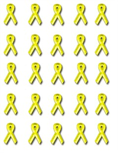 Yellow Ribbon Embroidered Stick-ons - 25-pack