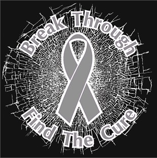 Grey  Break Through... Find The Cure! Static Window Cling