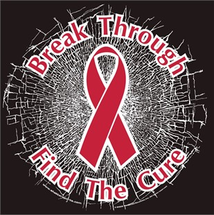 Red  Break Through... Find The Cure! Static Window Cling