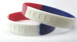 """FREEDOM"" Rubber Bracelet Wristband � Red, White & Blue � Youth 7"""