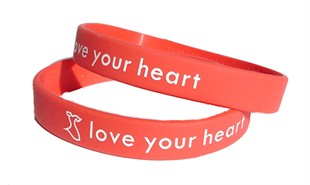 &quot;love your heart&quot; Red Dress Rubber Bracelet Wristband - Adult 8&quot;