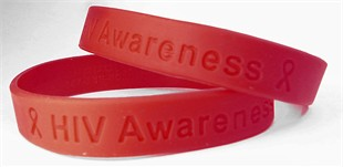 HIV Awareness Red Rubber Wristband - Adult 8&quot;