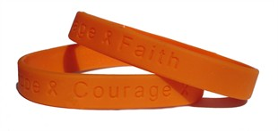 &quot;Hope Courage Faith&quot; Orange Rubber Bracelet Wristband - Youth 7&quot;