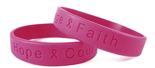 """Hope Courage Faith"" Hot Pink Rubber Bracelet Wristband - Adult 8"""