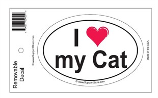 &quot;I Love My Cat&quot; Bumper Sticker Decal - Oval