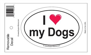 """I Love My Dogs"" Bumper Sticker Decal"