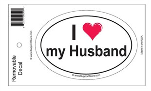 """I Love My Husband"" Bumper Sticker Decal"