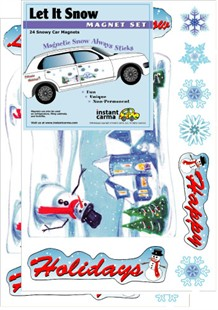 Let it Snow Car Winter Magnet Set