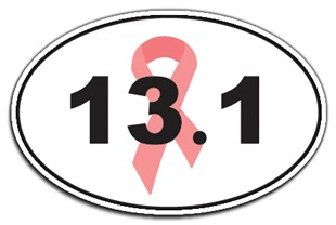 Breast Cancer Awareness 13.1 Half Marathon Pink Ribbon Car Magnet