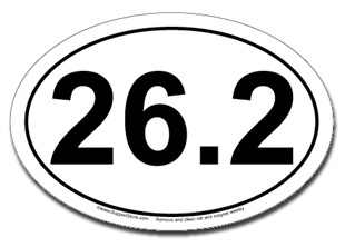 26.2 oval car magnet