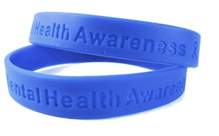 Mental Health Awareness Blue Rubber Bracelet Wristband - Adult 8&quot;