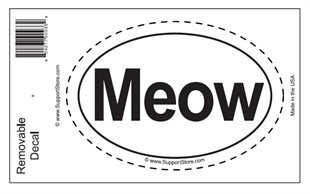 """Meow"" Bumper Sticker Decal - Oval"
