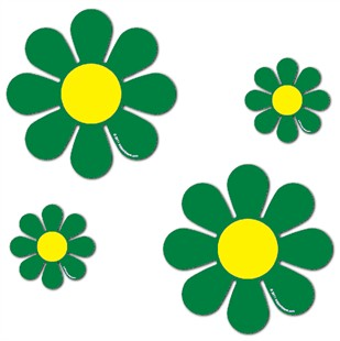 "Magnetic Daisies - Green - Set of 4 (2 - 4.5"" and 2 - 9"")"