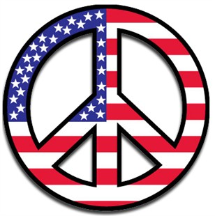 Peace Sign Car Magnet - Red, White & Blue