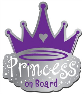 """Princess on Board"" Purple Car Magnet"