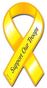 Support Our Troops Ribbon Car Magnet - Block Font