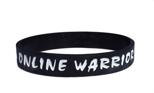 Online Warrior Gamer Black & White Rubber Wristband - Adult 8&quot;