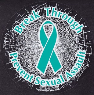 """Break Through...Prevent Sexual Assault"" Teal Static Window Cling"