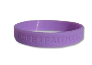"""Hope Faith Love""  Purple Rubber Bracelet Wristband - Adult 8"""