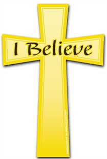 """I Believe"" Car Magnet - Gold Christian Cross"