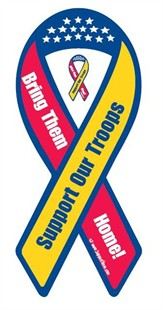 &quot;Support Our Troops - Bring Them Home!&quot; Ribbon Magnet