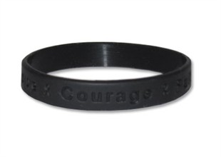 """Hope Courage Faith""  Black Rubber Bracelet Wristband - Youth 7"""