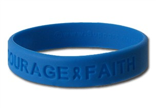 """Hope Courage Faith""  Blue Rubber Bracelet Wristband  -  Adult 8"""