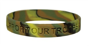 """SUPPORT OUR TROOPS"" Rubber Bracelet Wristband - Camouflage - Adult 8"""
