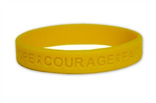 """Hope Courage Faith""  Yellow Rubber Bracelet Wristband - Youth 7"""
