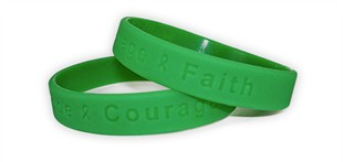 &quot;Hope Courage Faith&quot; Green Rubber Bracelet Wristband - Youth 7&quot;